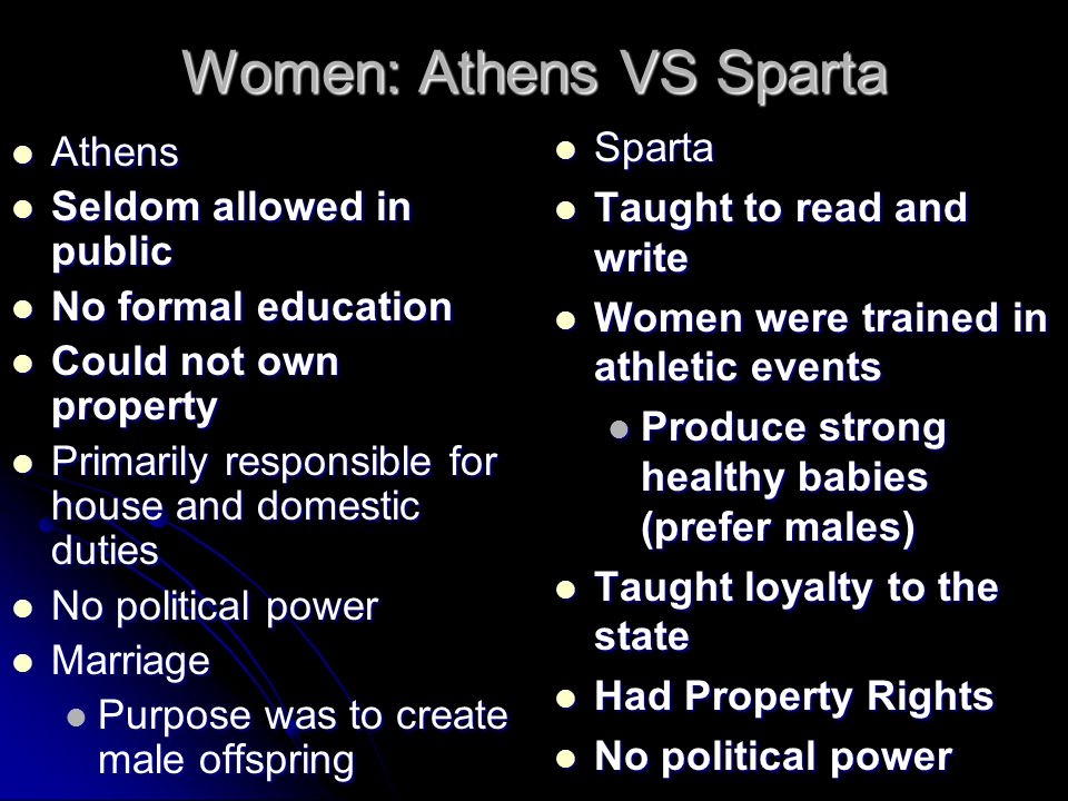 Women: Athens VS Sparta