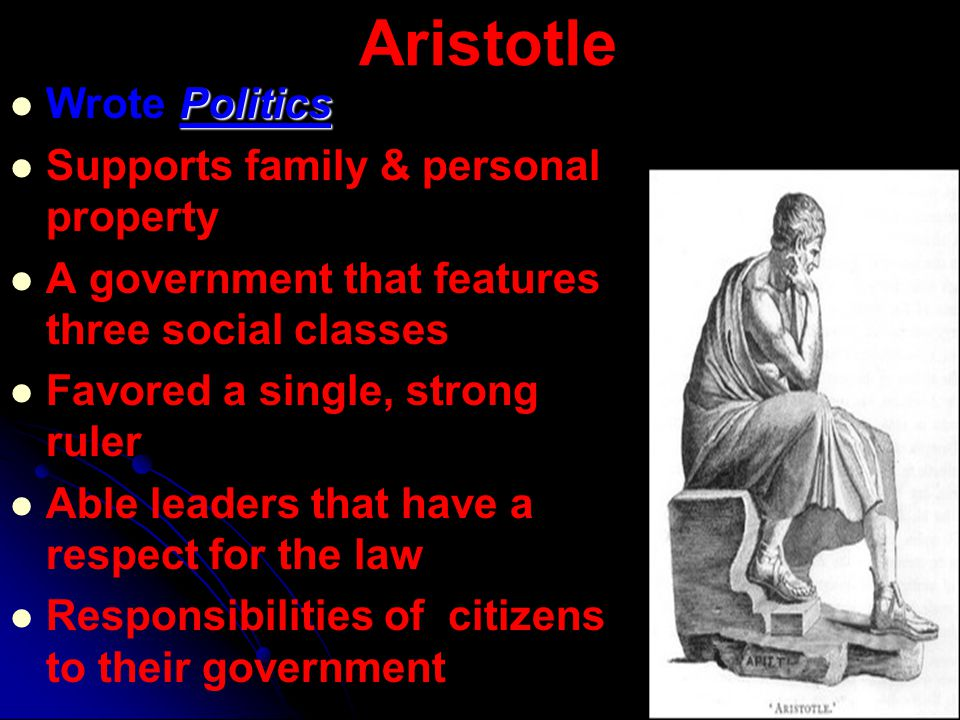 Aristotle Wrote Politics Supports family & personal property