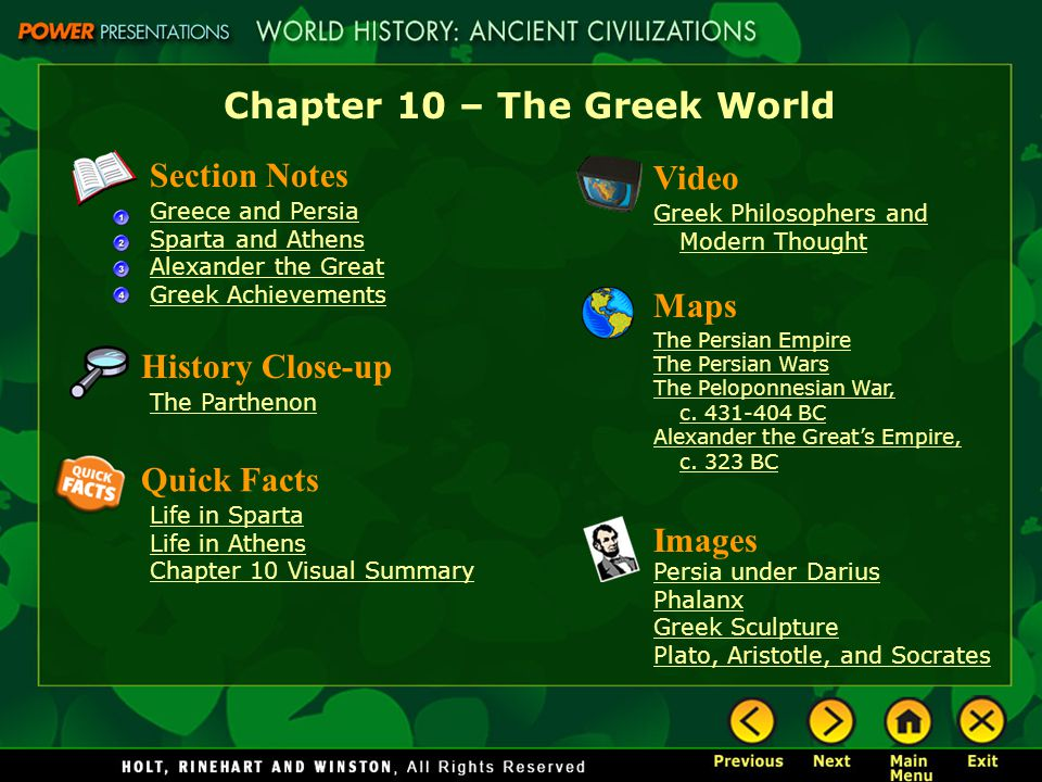Chapter 10 – The Greek World