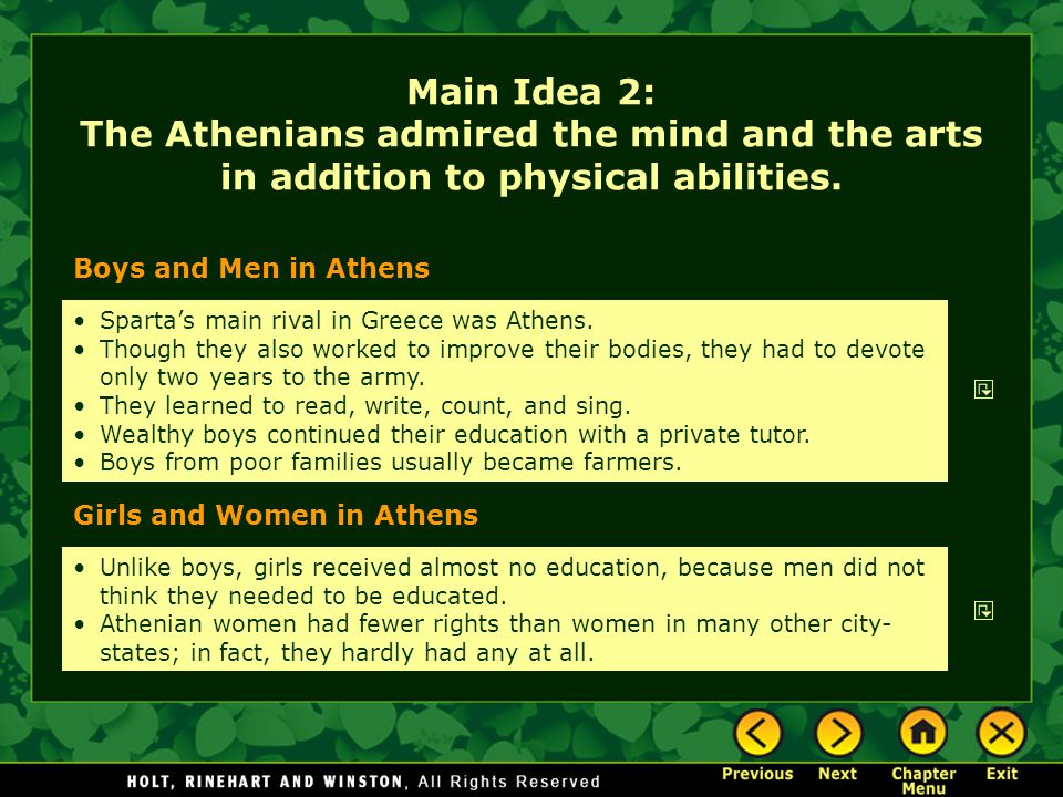 Main Idea 2: The Athenians admired the mind and the arts in addition to physical abilities.