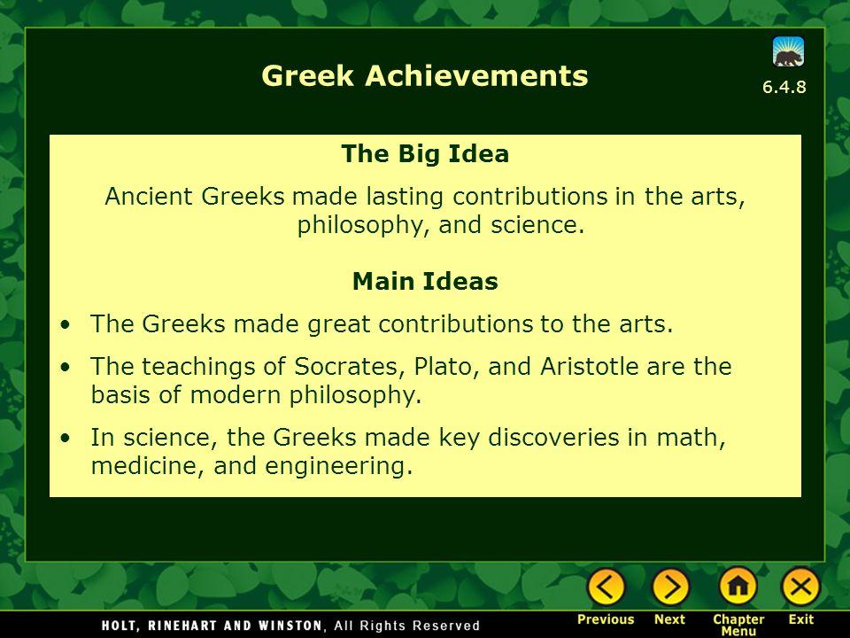 Greek Achievements The Big Idea