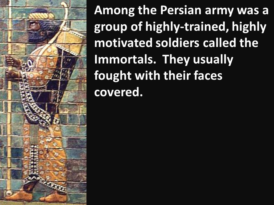 Among the Persian army was a group of highly-trained, highly motivated soldiers called the Immortals.