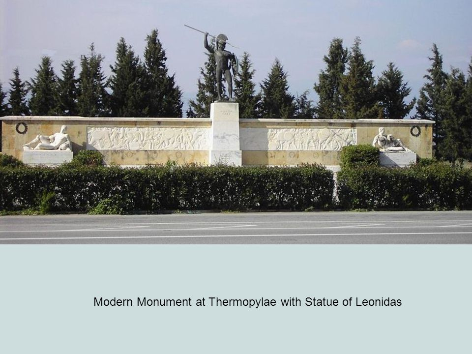 Modern Monument at Thermopylae with Statue of Leonidas