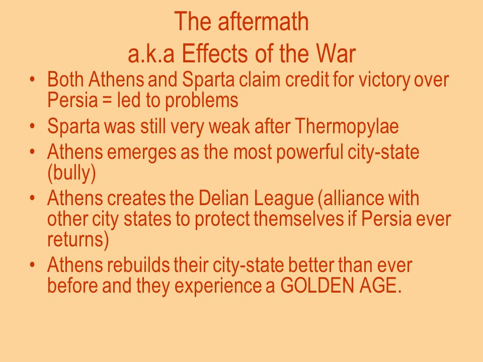 The aftermath a.k.a Effects of the War