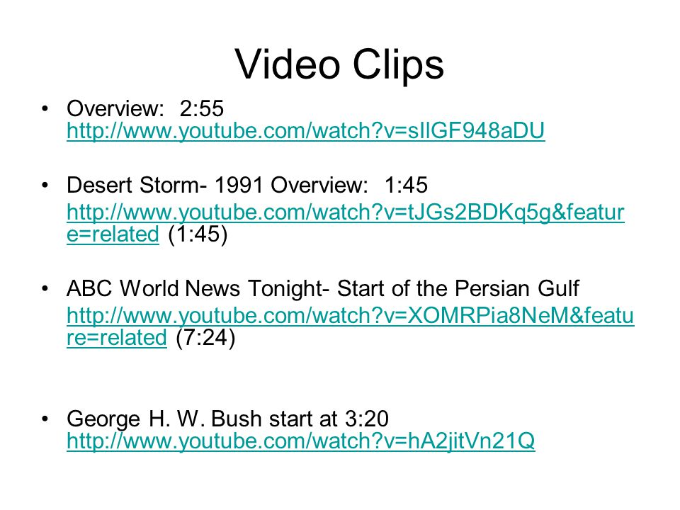 Video Clips Overview: 2:55 http://www.youtube.com/watch v=sIlGF948aDU