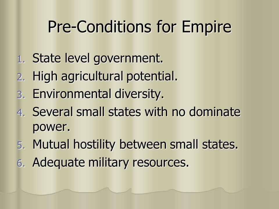 Pre-Conditions for Empire