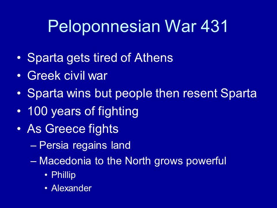 Peloponnesian War 431 Sparta gets tired of Athens Greek civil war