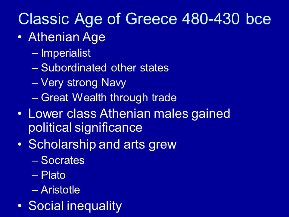 Classic Age of Greece 480-430 bce