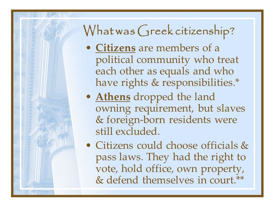 What was Greek citizenship