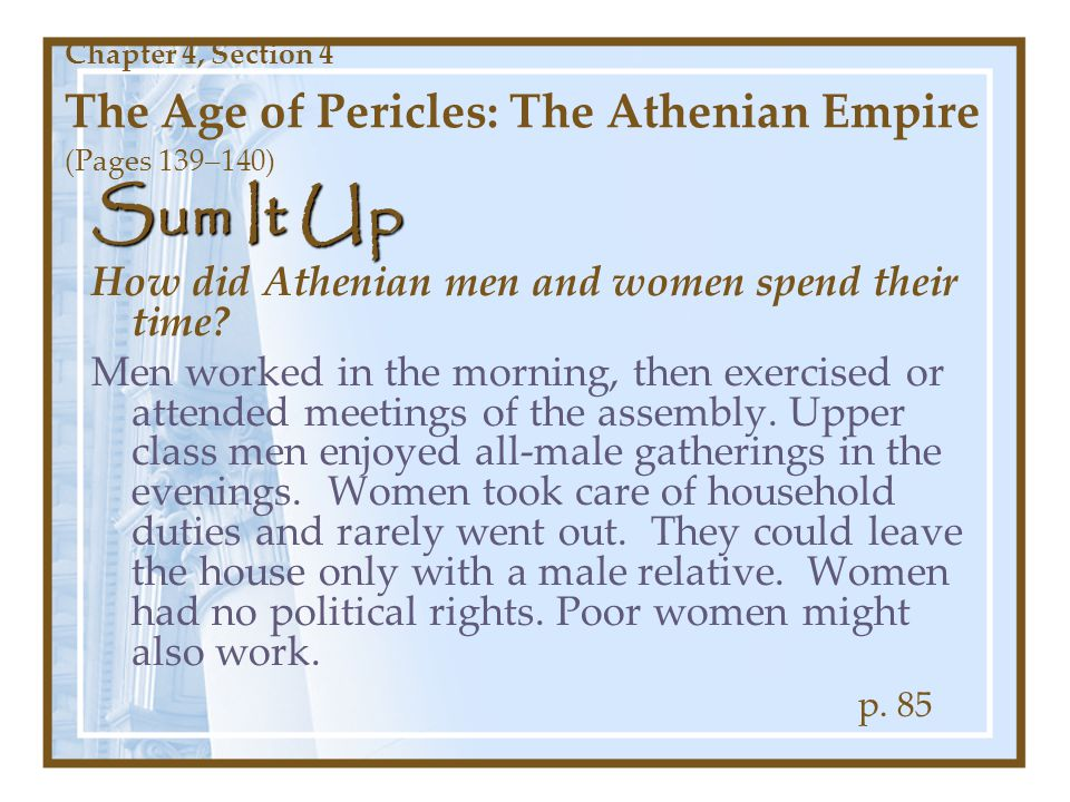 Sum It Up How did Athenian men and women spend their time