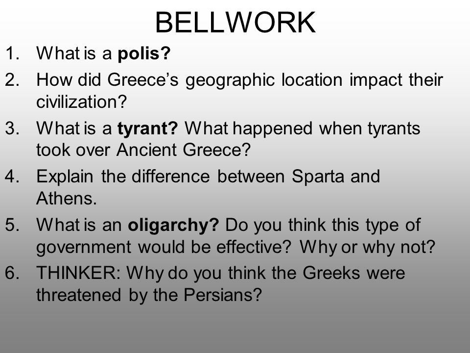 BELLWORK What is a polis