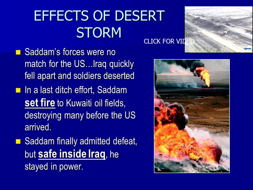 EFFECTS OF DESERT STORM