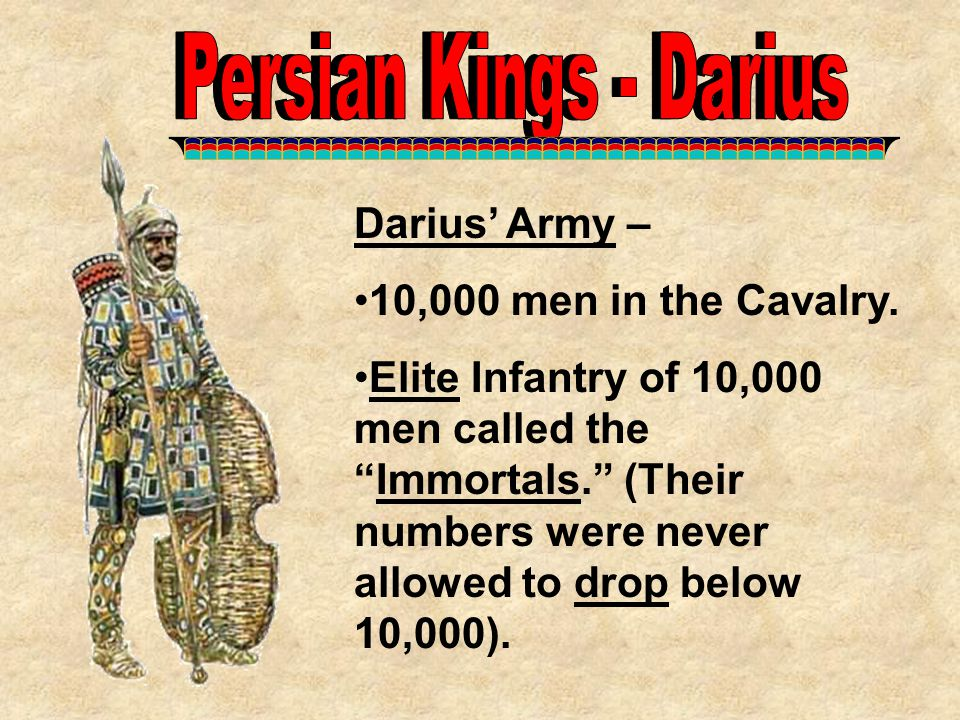 Persian Kings - Darius Persian Kings - Darius Darius' Army –