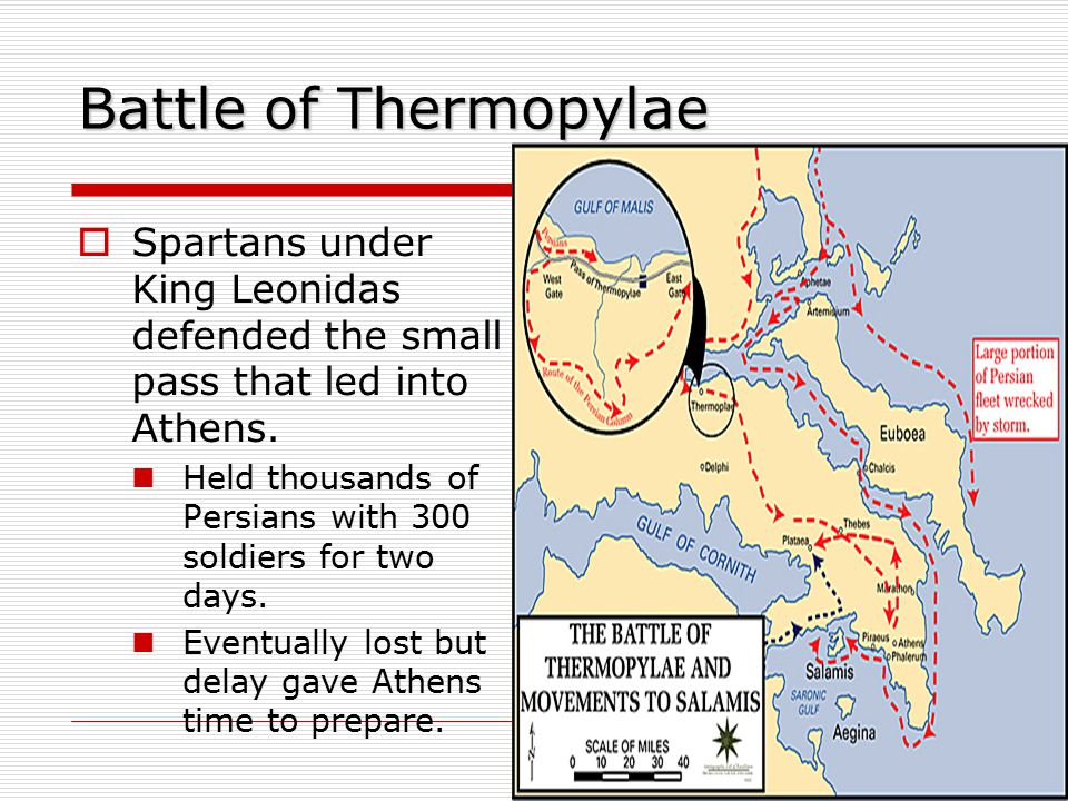 Battle of Thermopylae Spartans under King Leonidas defended the small pass that led into Athens.