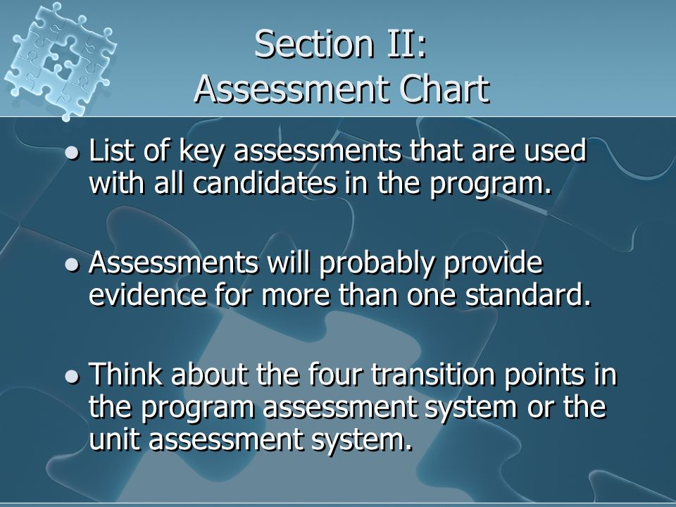 Section II: Assessment Chart