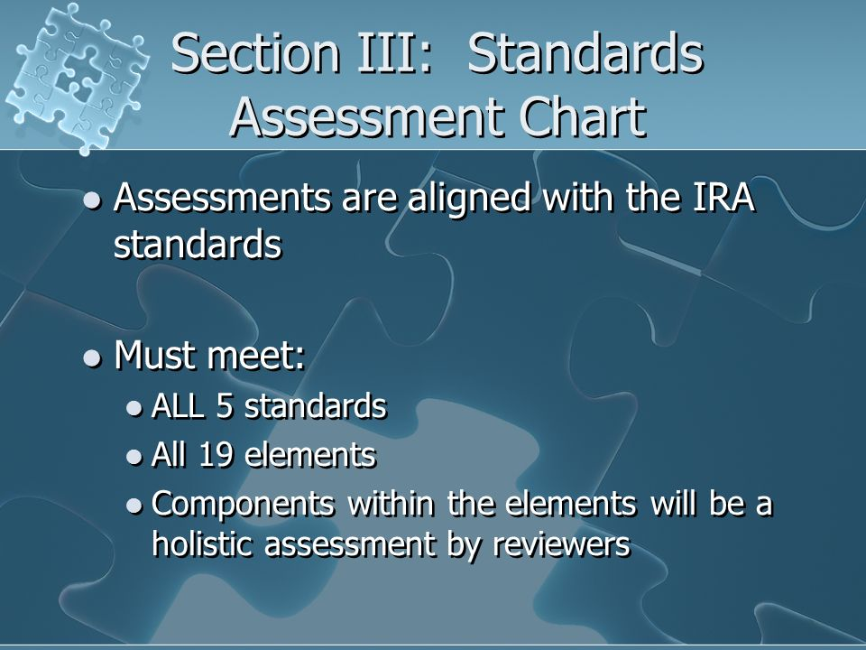 Section III: Standards Assessment Chart