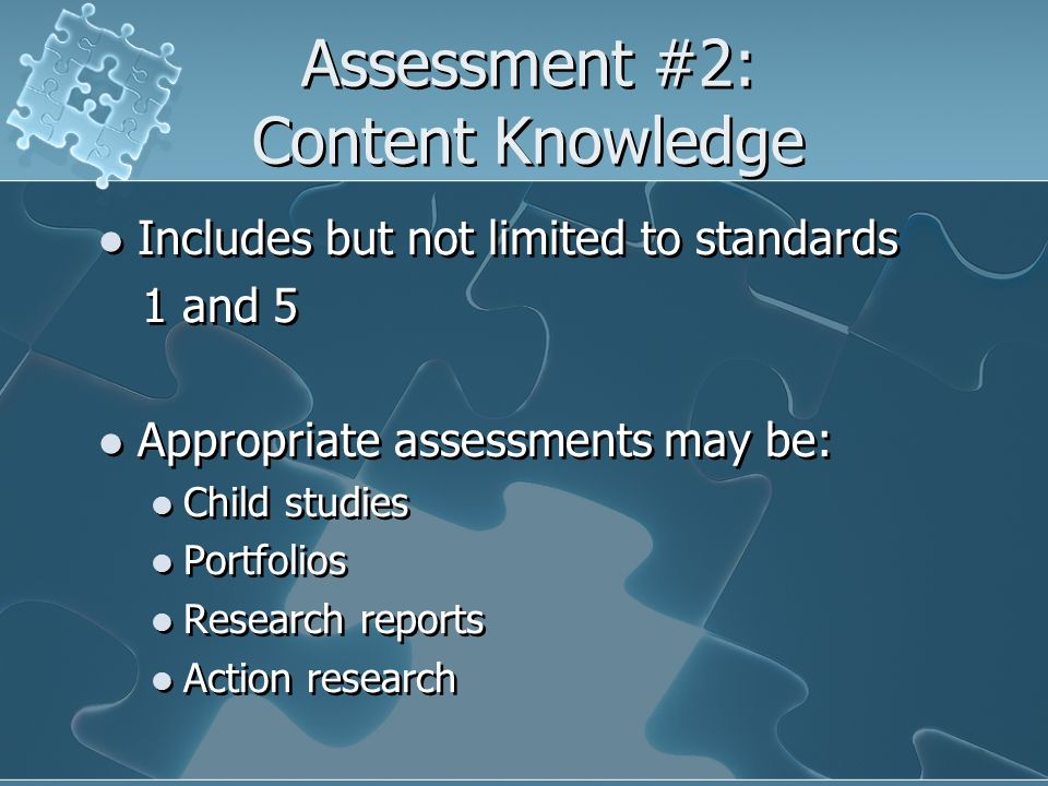 Assessment #2: Content Knowledge