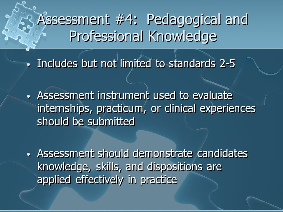 Assessment #4: Pedagogical and Professional Knowledge