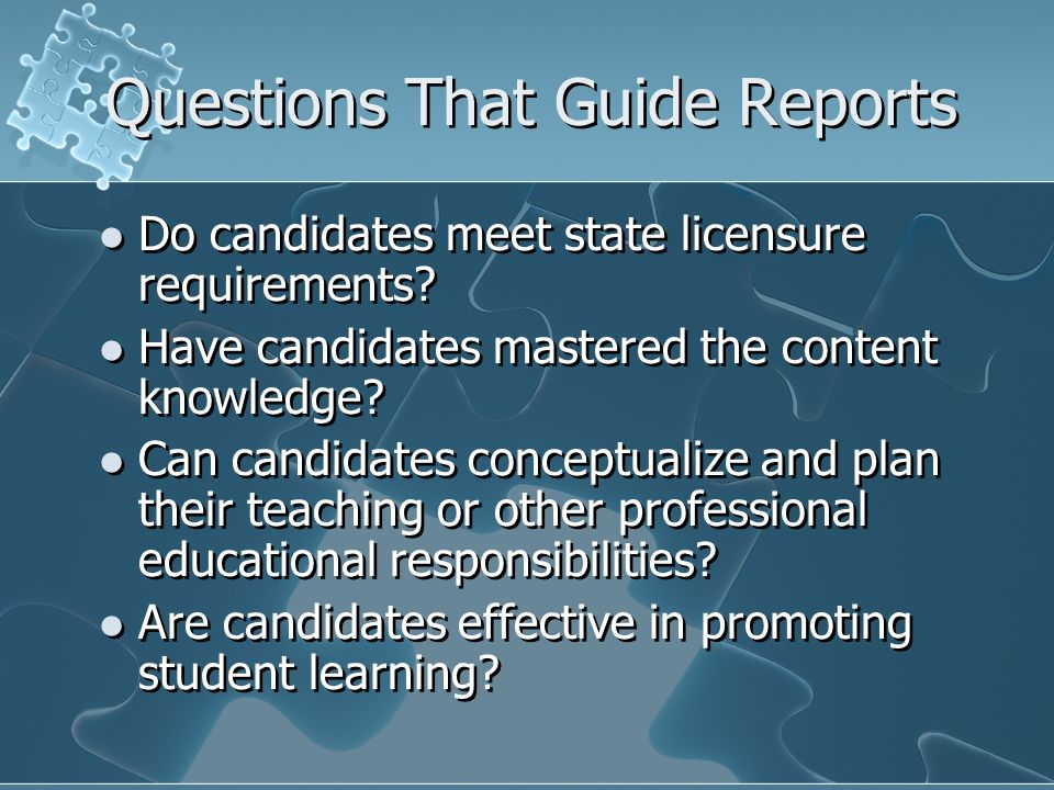Questions That Guide Reports