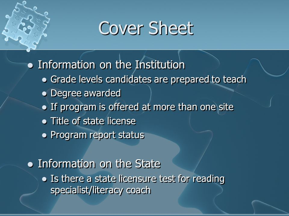 Cover Sheet Information on the Institution Information on the State
