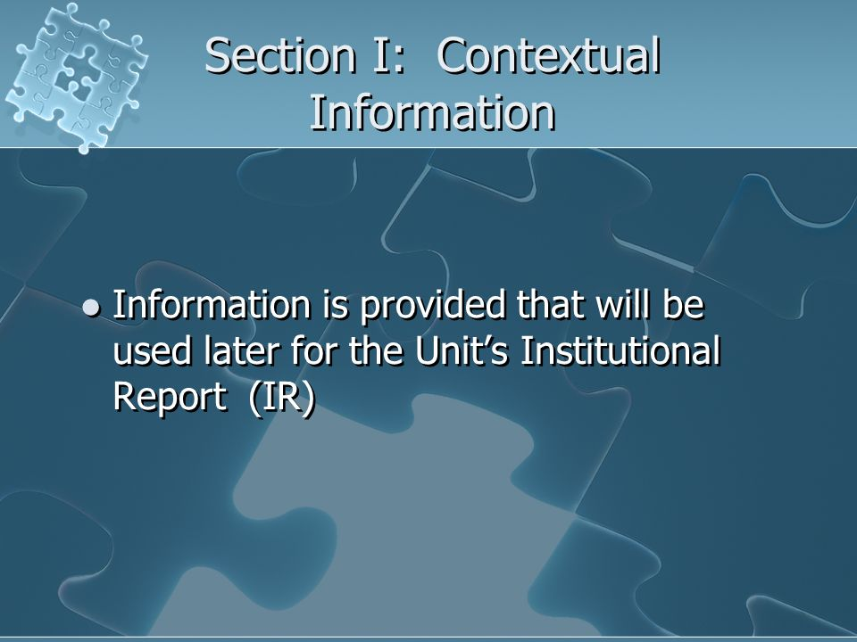 Section I: Contextual Information