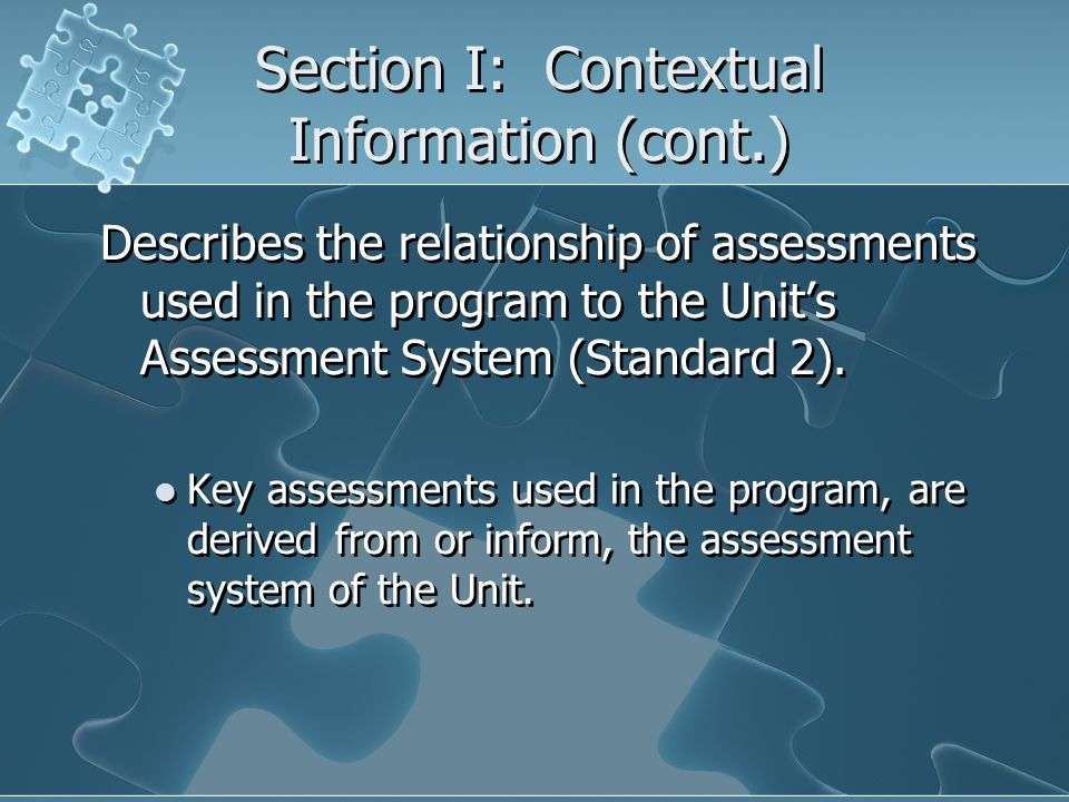 Section I: Contextual Information (cont.)