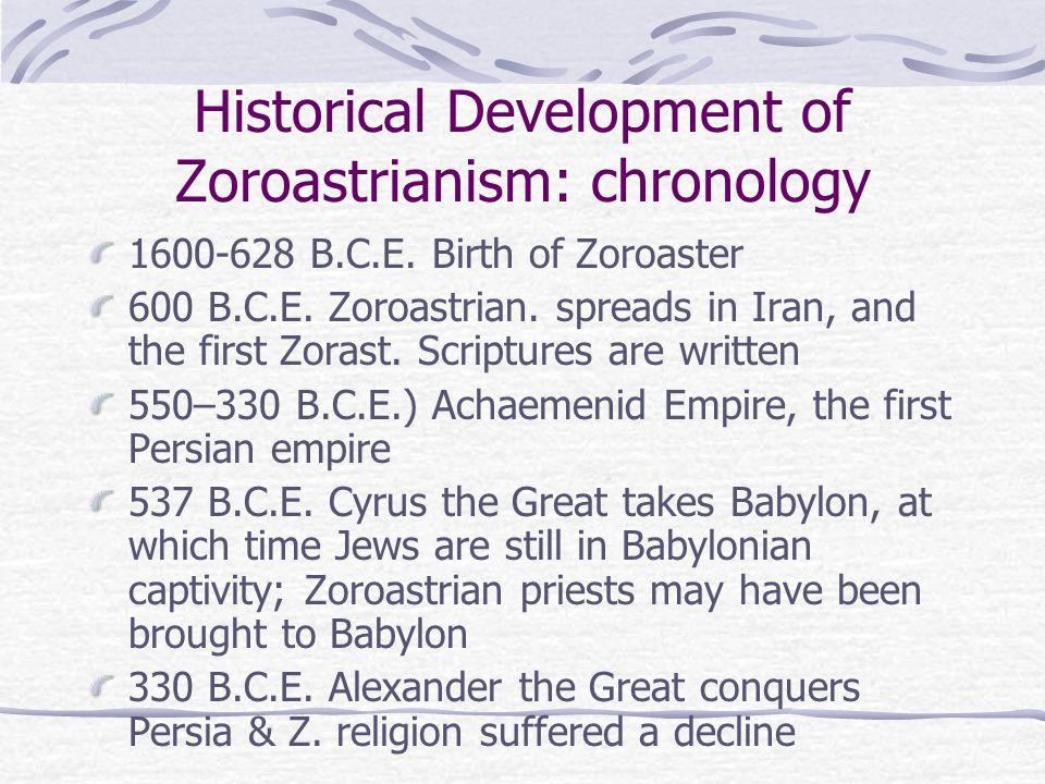 Historical Development of Zoroastrianism: chronology