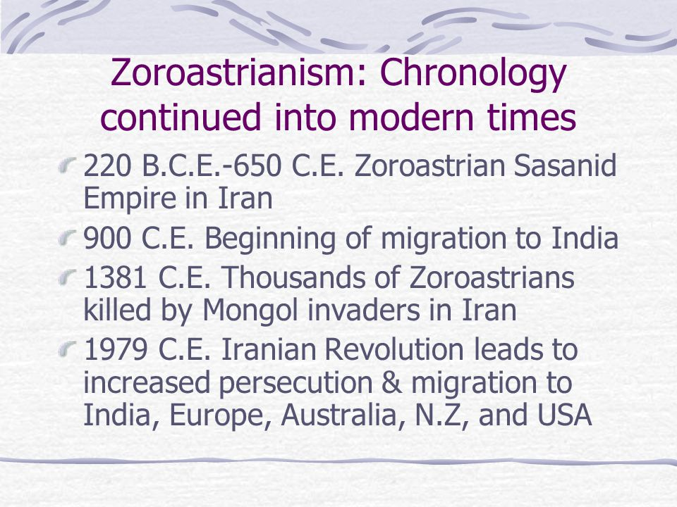Zoroastrianism: Chronology continued into modern times