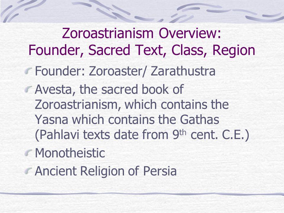 Zoroastrianism Overview: Founder, Sacred Text, Class, Region