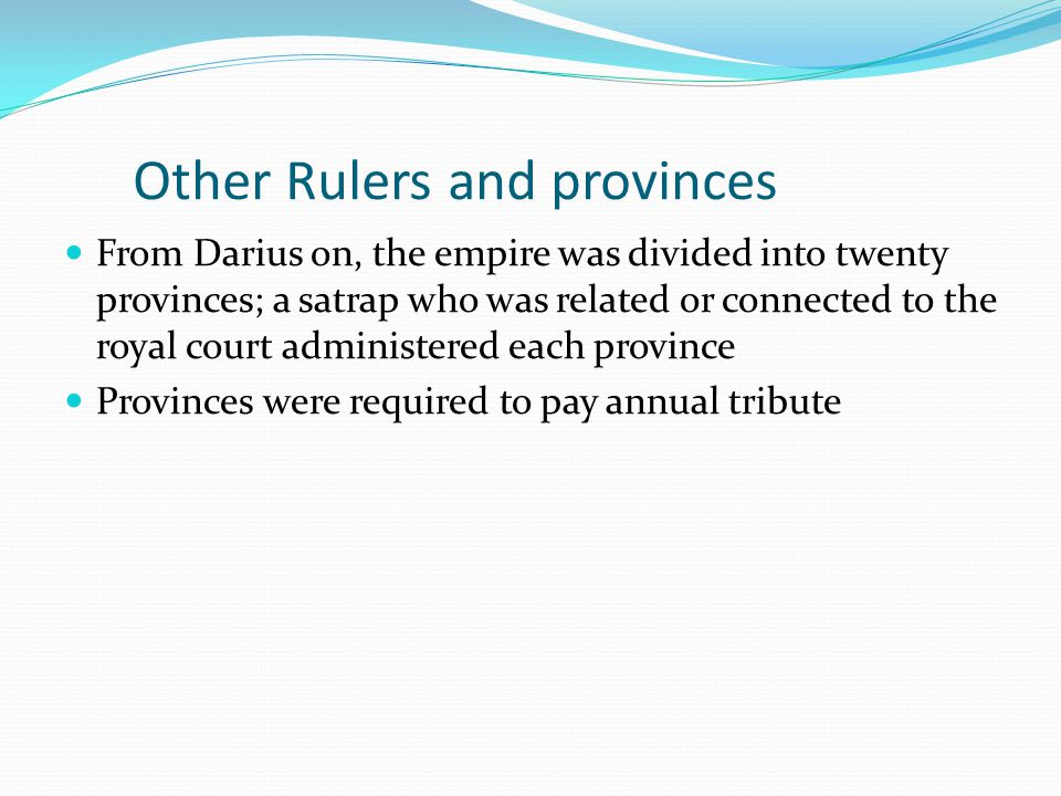 Other Rulers and provinces