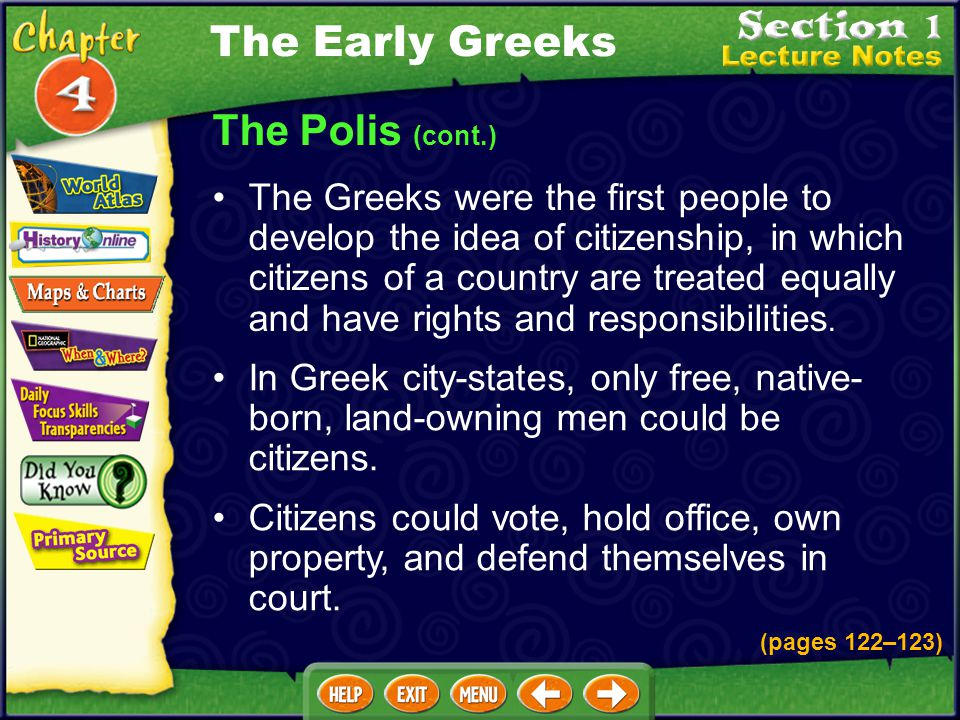 The Early Greeks The Polis (cont.)