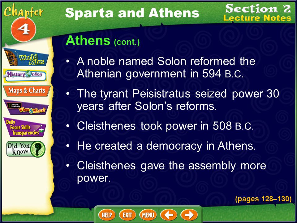 Sparta and Athens Athens (cont.)