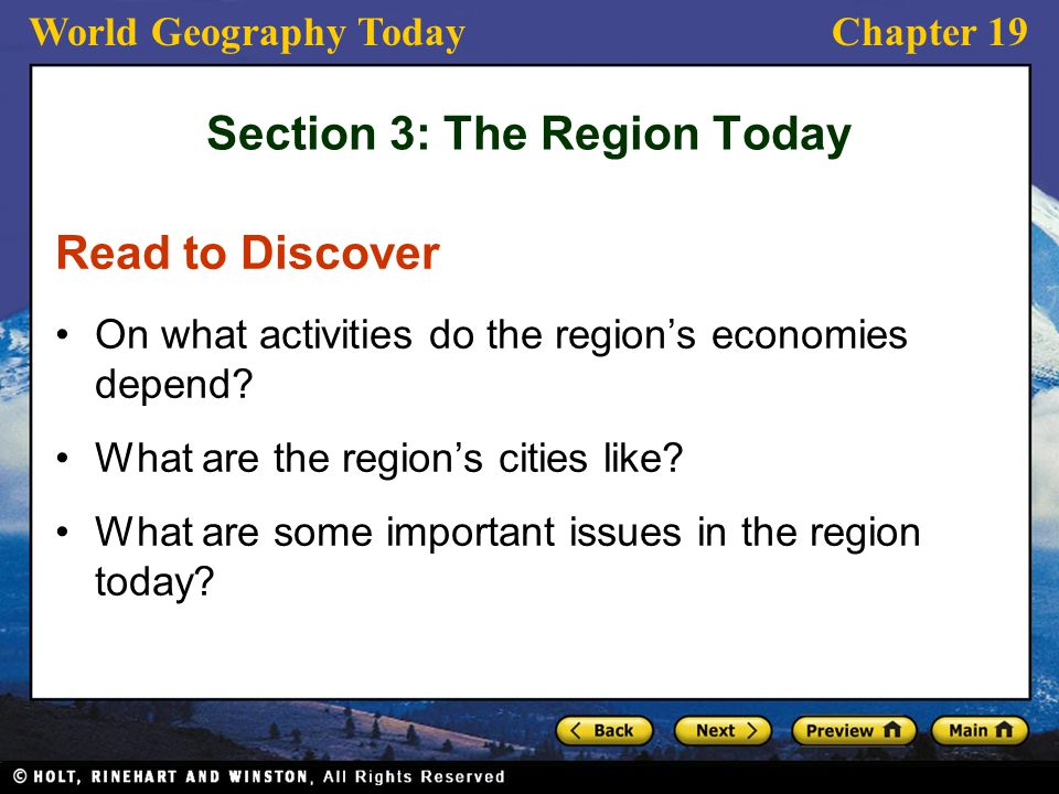 Section 3: The Region Today