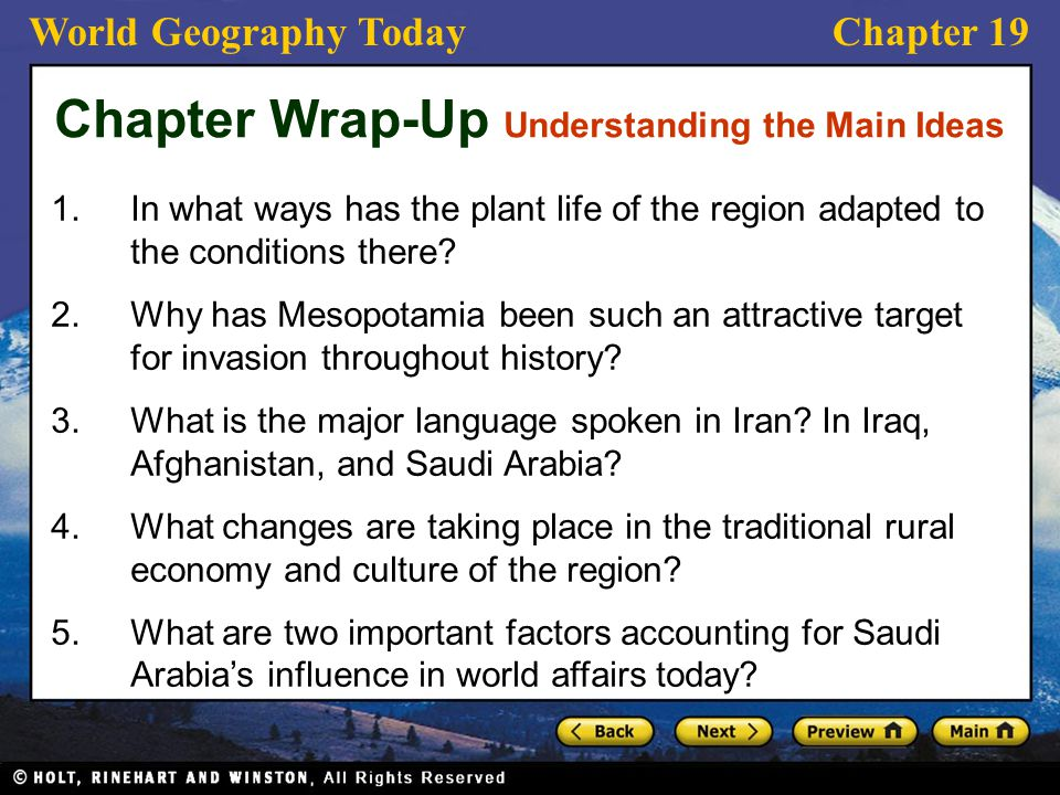 Chapter Wrap-Up Understanding the Main Ideas
