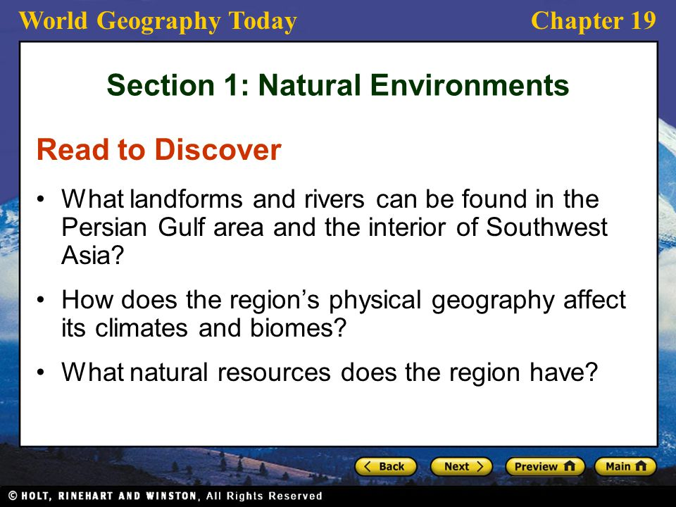 Section 1: Natural Environments