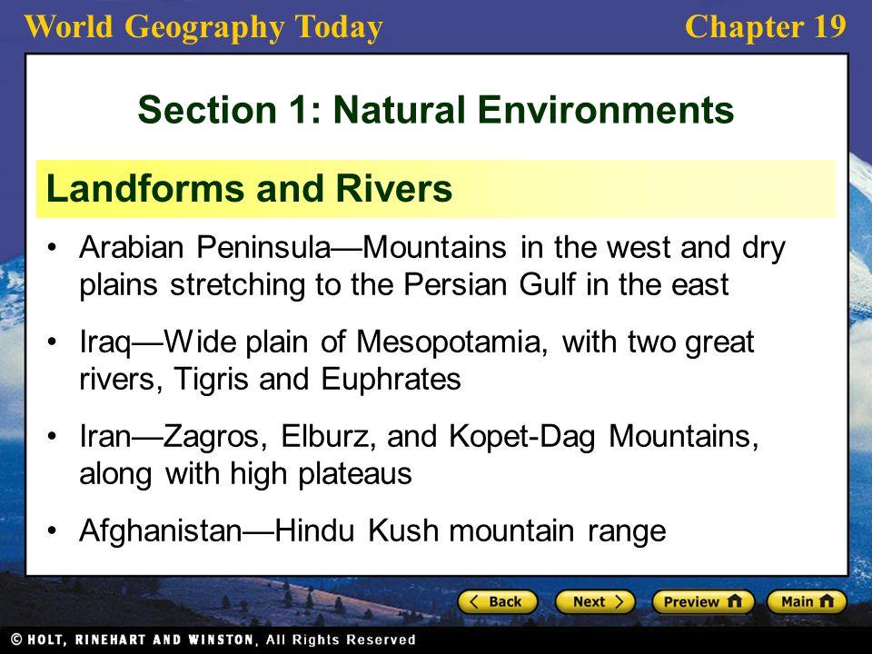 Section 1: Natural Environments