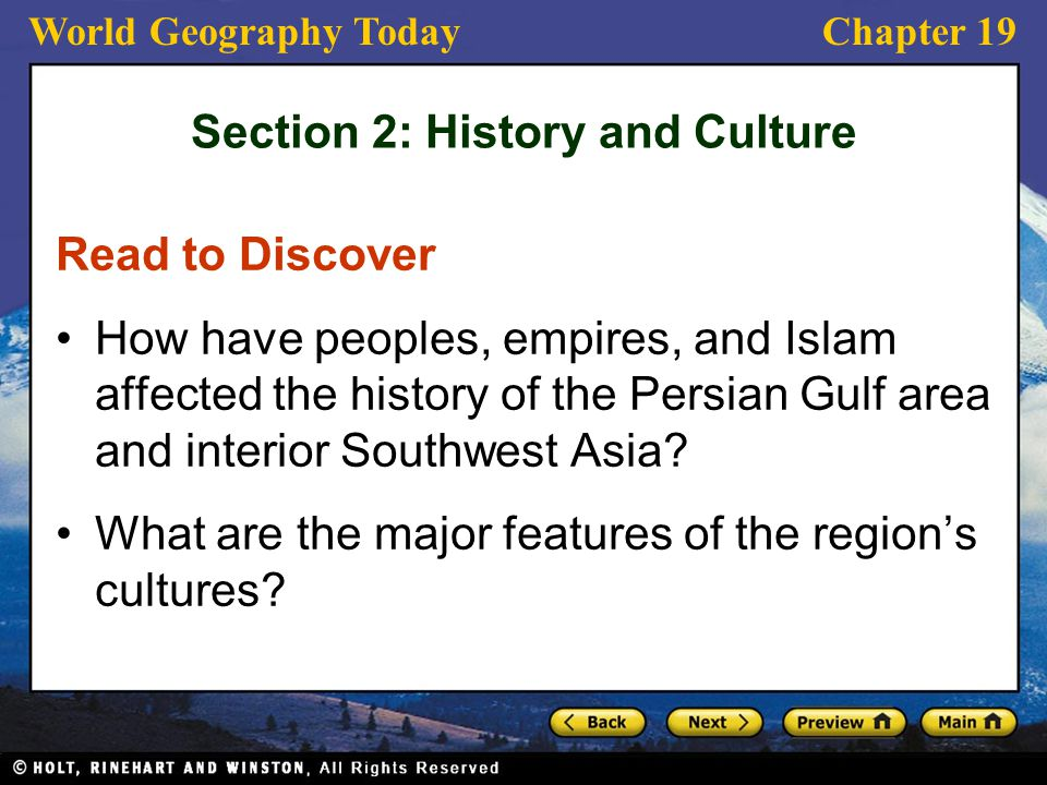 Section 2: History and Culture