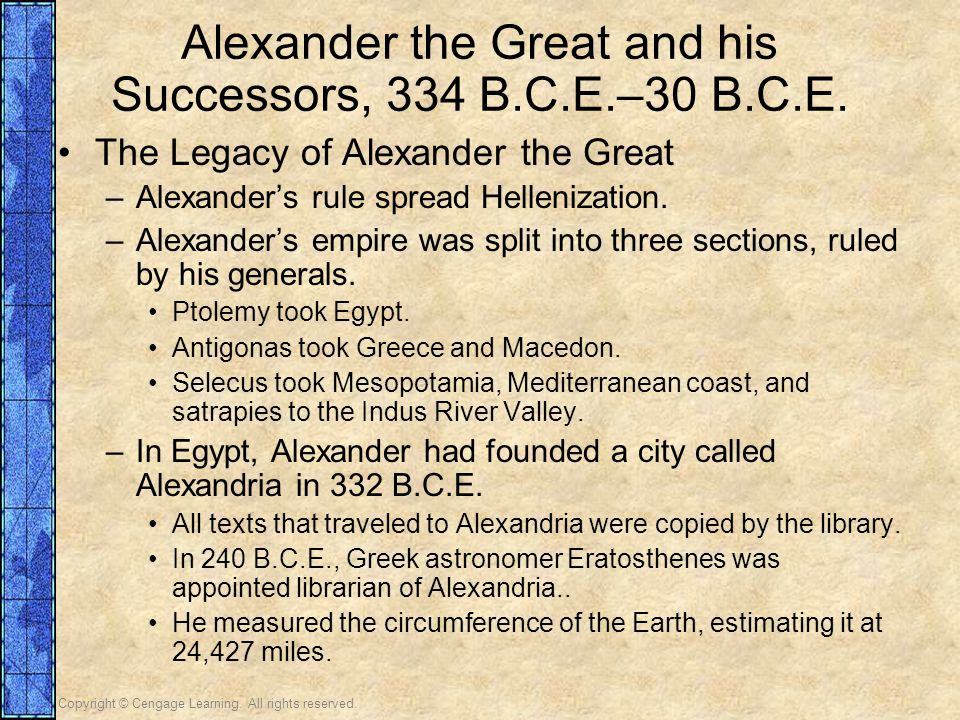 Alexander the Great and his Successors, 334 B.C.E.–30 B.C.E.