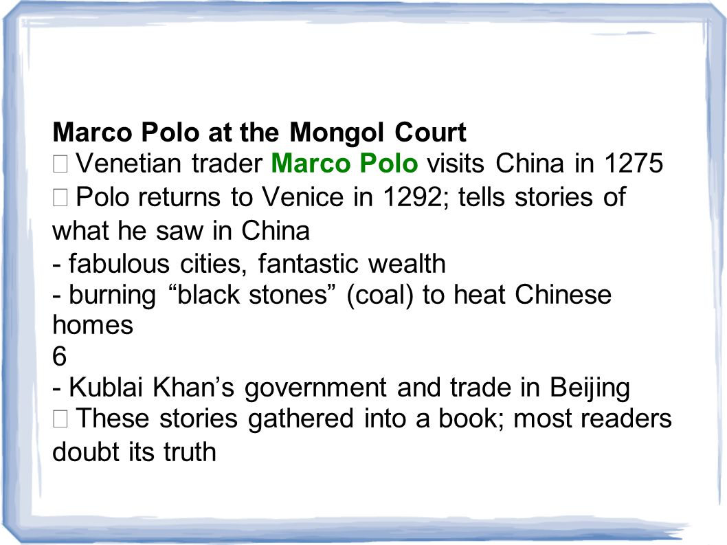Marco Polo at the Mongol Court