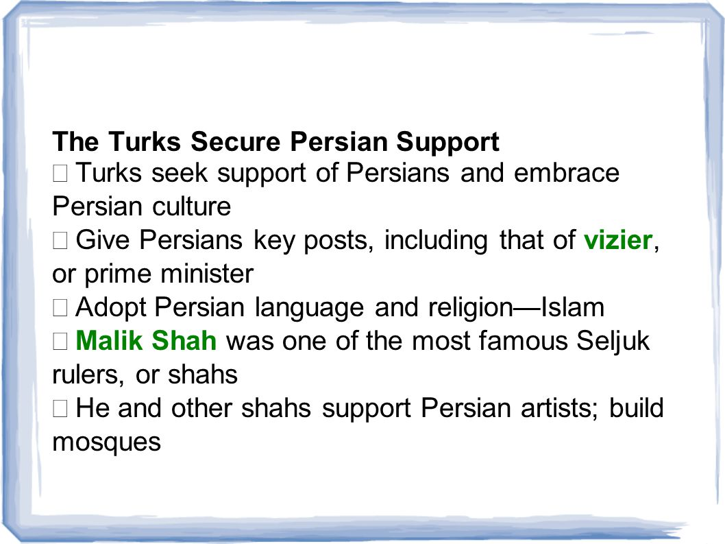 The Turks Secure Persian Support