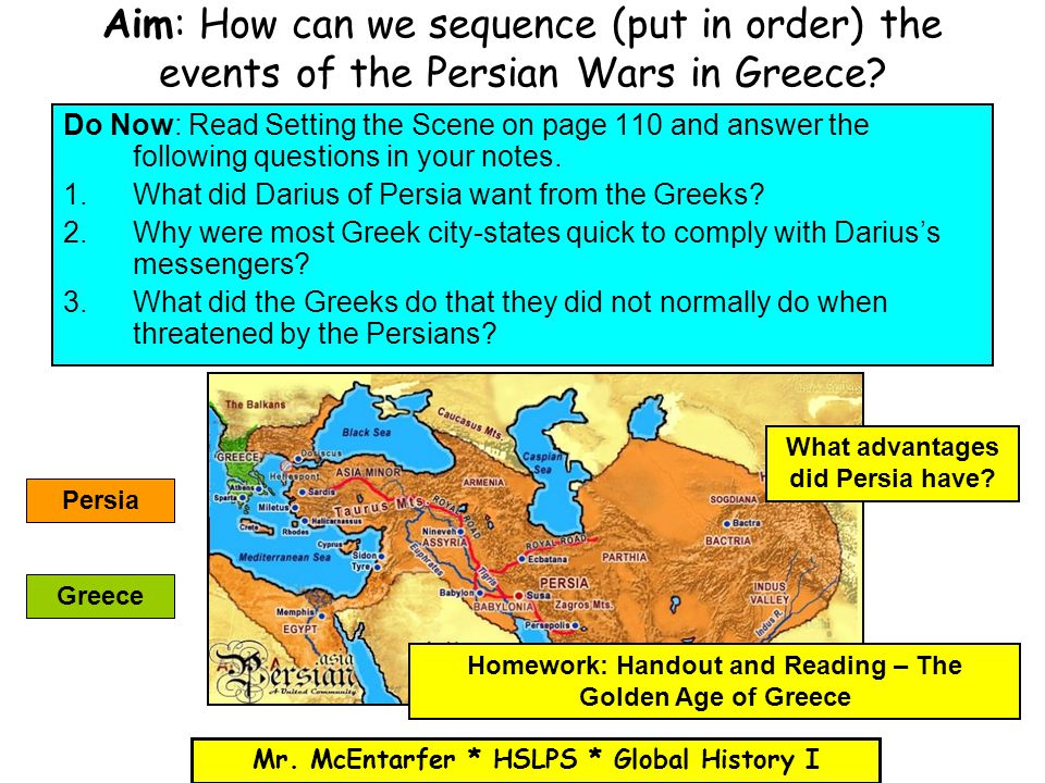 Aim: How can we sequence (put in order) the events of the Persian Wars in Greece