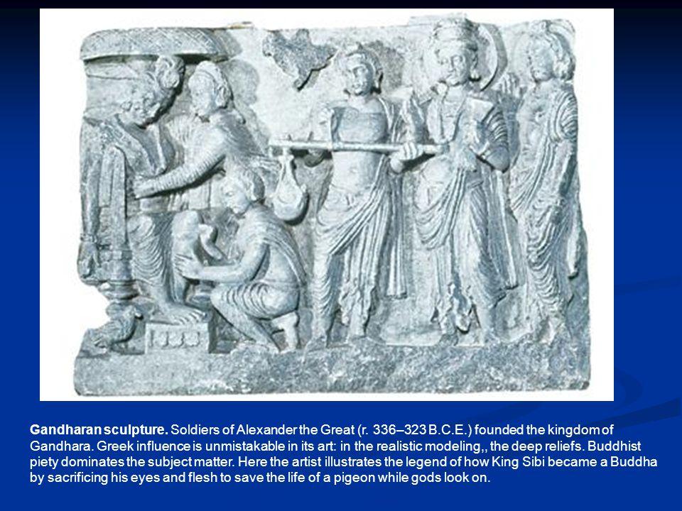 Gandharan sculpture. Soldiers of Alexander the Great (r. 336–323 B. C