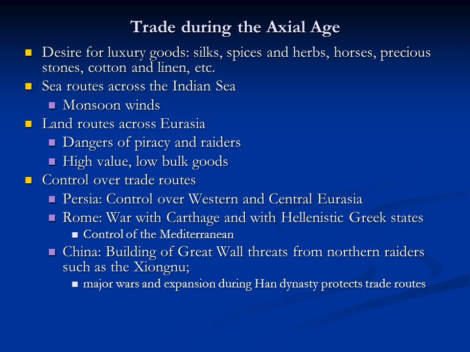 Trade during the Axial Age