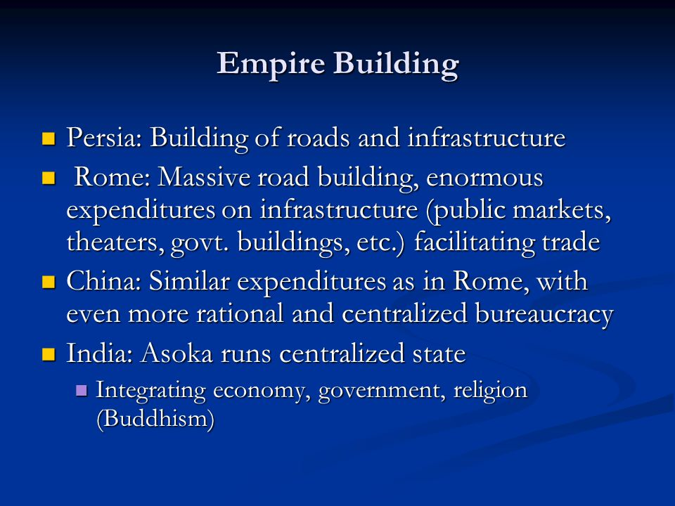 Empire Building Persia: Building of roads and infrastructure
