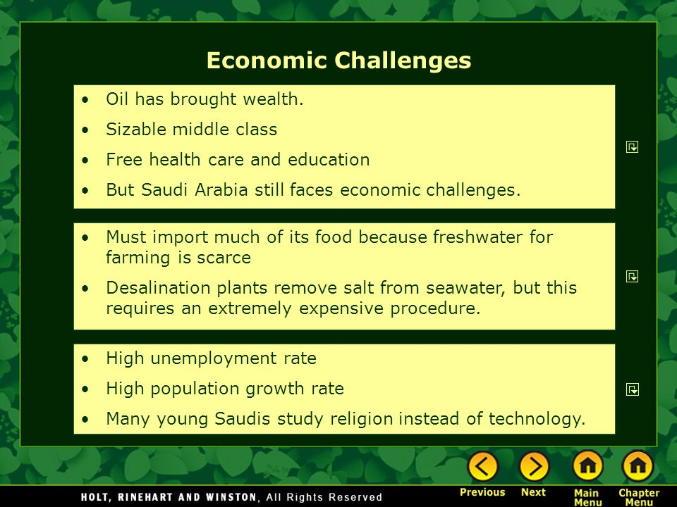 Economic Challenges Oil has brought wealth. Sizable middle class