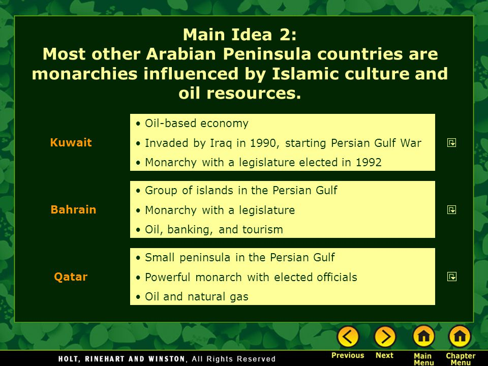 Main Idea 2: Most other Arabian Peninsula countries are monarchies influenced by Islamic culture and oil resources.