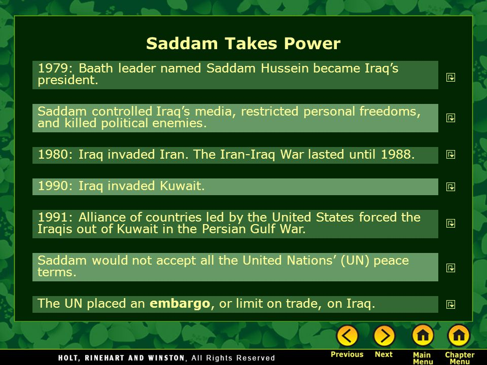 Saddam Takes Power 1979: Baath leader named Saddam Hussein became Iraq's president.