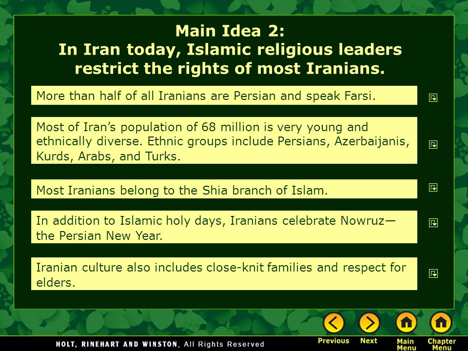 Main Idea 2: In Iran today, Islamic religious leaders restrict the rights of most Iranians.