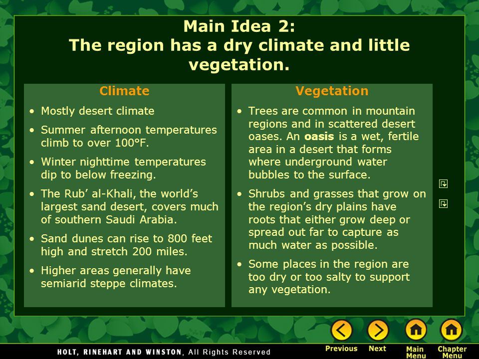 Main Idea 2: The region has a dry climate and little vegetation.