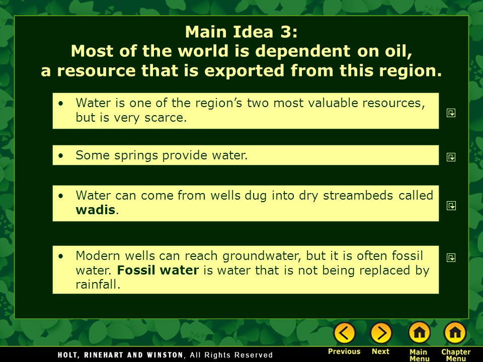 Main Idea 3: Most of the world is dependent on oil, a resource that is exported from this region.